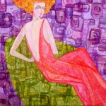 Woman on a green armchair