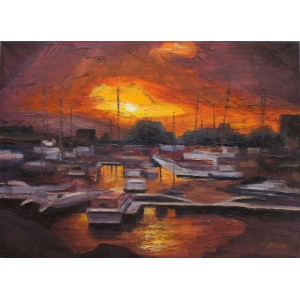 Sunset in a Harbour